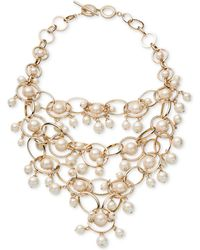 Carolee | Gold-tone Imitation Pearl & Pavé Statement Necklace | Lyst