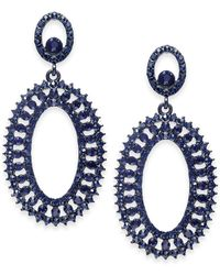 INC International Concepts - I.n.c. Jet-tone & Blue Crystal Circle Drop Earrings, Created For Macy's - Lyst