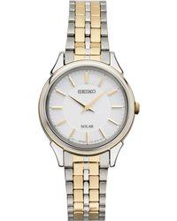 Seiko - Women's Solar Slimline Two-tone Stainless Steel Bracelet Watch 27mm Sup344 - Lyst