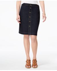 Style & Co. - Petite Button-front Denim Midi Skirt - Lyst