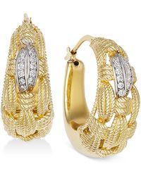 Macy S Diamond Textured Weave Hoop Earrings 1 4 Ct T W In
