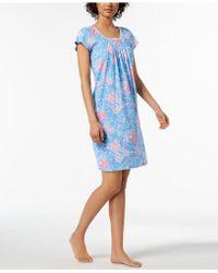 Miss Elaine - Rose-print Picot-trim Nightgown - Lyst