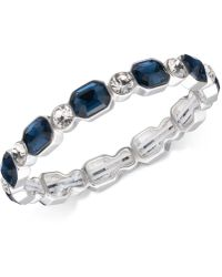 Anne Klein - Silver-tone Blue & Clear Crystal Stretch Bracelet - Lyst