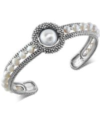 Effy Collection - Cultured Freshwater Pearl (4mm & 10mm) Cuff Bracelet In Sterling Silver - Lyst