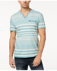 INC International Concepts - Striped Split-neck T-shirt, Created For Macy's - Lyst