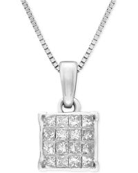 Macy's - Diamond Square Cluster Pendant Necklace (1/4 Ct. T.w.) In 14k White Gold - Lyst