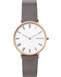 Skagen - Women's Hald Gray Leather Strap Watch 34mm - Lyst