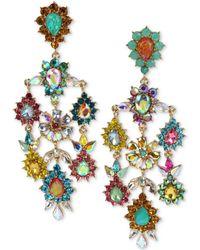 Betsey Johnson - Gold-tone Multi-stone Flower Chandelier Earrings - Lyst