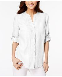 Charter Club - Linen Pleated Utility Shirt, Created For Macy's - Lyst