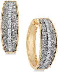 Macy's - Diamond Glitter Hoop Earrings (1/5 Ct. T.w.) In 18k Gold-plated Sterling Silver - Lyst