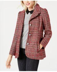 Maison Jules - Plaid-print Pea Coat, Created For Macy's - Lyst