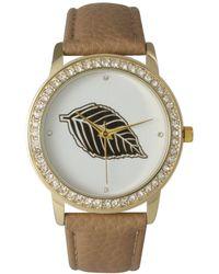 Olivia Pratt - Rhinestone Bezel And Leaf Leather Strap Watch - Lyst