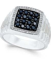 Macy's - Men's Black Sapphire (1 Ct. T.w.) And White Sapphire (1/5 Ct. T.w.) Ring In Sterling Silver - Lyst