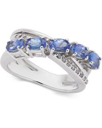 Macy's - Tanzanite (1-1/4 Ct. T.w.) & Diamond (1/10 Ct. T.w.) Ring In 14k White Gold - Lyst
