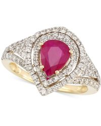 Rare Featuring Gemfields - Certified Ruby (5/6 Ct. T.w.) And Diamond (2/3 Ct. T.w.) Ring In 14k Gold - Lyst
