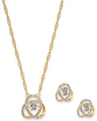 Charter Club - Gold-tone Pavé Knot Pendant Necklace & Stud Earrings Set, Created For Macy's - Lyst