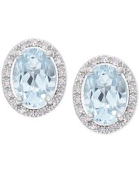 Macy's - Aquamarine (1-1/3 Ct. T.w.) And Diamond (1/10 Ct. T.w.) Halo Stud Earrings In 14k White Gold - Lyst