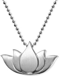 Alex Woo - Little Faith Lotus Blossom Pendant Necklace In Sterling Silver - Lyst