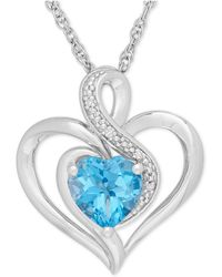 Macy's - Blue Topaz (1-1/2 Ct. T.w.) And Diamond Accent Heart Pendant Necklace In Sterling Silver - Lyst