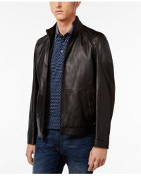 Michael Kors - Men's Leather Racer Jacket - Lyst