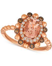 Le Vian - Peach Morganitetm (7/8 Ct. T.w.) & Diamond (1/4 Ct. T.w.) Ring In 14k Rose Gold - Lyst
