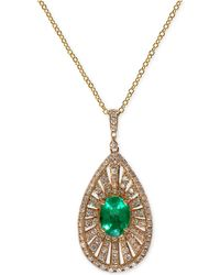 Effy Collection - Emerald (1-1/10 Ct. T.w.) And Diamond (4/5 Ct. T.w.) Pendant Necklace In 14k Gold - Lyst