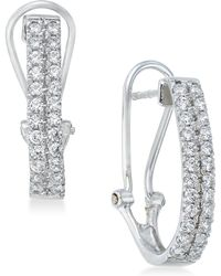 Macy's - Diamond J-hoop Earrings (1 Ct. T.w.) In 10k White Gold - Lyst