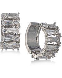 Carolee | Silver-tone Crystal Huggie Hoop Earrings | Lyst