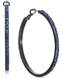 INC International Concepts - I.n.c. Jet-tone & Blue Crystal Hoop Earrings, Created For Macy's - Lyst