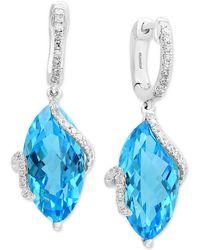 Effy Collection - Ocean Bleu By Effy® Blue Topaz (13-3/4 Ct. T.w.) & Diamond (1/4 Ct. T.w.) Drop Earrings In 14k White Gold - Lyst