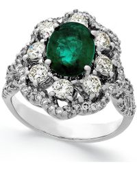 Macy's - Emerald (1-3/4 Ct. T.w.) And Diamond (1-1/5 Ct. T.w.) Ring In 14k White Gold - Lyst
