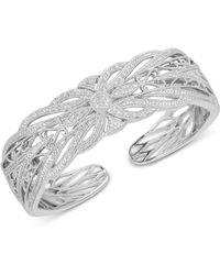Macy's - Diamond Openwork Bangle Bracelet (1/4 Ct. T.w.) In Sterling Silver - Lyst