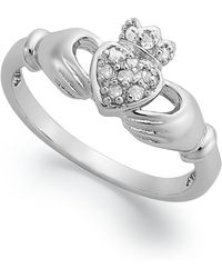 Macy's - Diamond Claddagh Ring In Sterling Silver (1/10 Ct. T.w.) - Lyst