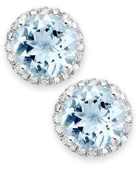 Macy's - Aquamarine (2 Ct. T.w.) And Diamond (1/5 Ct. T.w.) Stud Earrings In 14k White Gold - Lyst