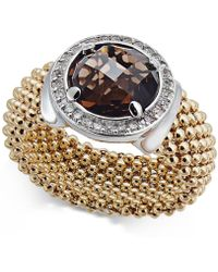 Macy's - Smoky Quartz (2-1/8 Ct. T.w.) And Diamond (1/5 Ct. T.w.) Popcorn Band Ring In 14k Gold-plated Sterling Silver - Lyst