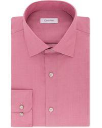 Calvin Klein - Slim-fit Non-iron Performance Herringbone Point Collar Dress Shirt - Lyst