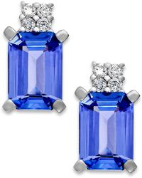 Macy's - Tanzanite (1-9/10 Ct. T.w.) And Diamond Accent Stud Earrings In 14k White Gold - Lyst