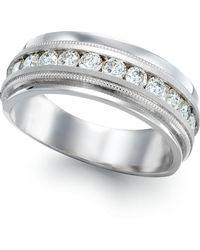 Macy's - Men's Diamond Milgrain Trim Ring In 14k White Gold (1 Ct. T.w.) - Lyst