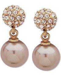 Givenchy - Gold-tone Pavé Fireball & Imitation Pearl Drop Earrings - Lyst