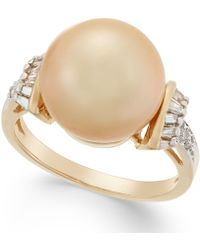 Macy's | Cultured Golden South Sea Pearl (12mm) And Diamond (1/4 Ct. T.w.) Ring In 14k Gold | Lyst