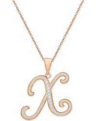 Macy's - Diamond Accent Initial Pendant Necklace In Rose Gold-plate - Lyst