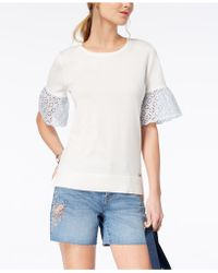 Tommy Hilfiger - Cotton Eyelet-sleeve Top - Lyst