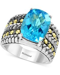 Effy Collection - Effy® Blue Topaz Ring (7-3/8 Ct. T.w.) In Sterling Silver & 18k Gold - Lyst