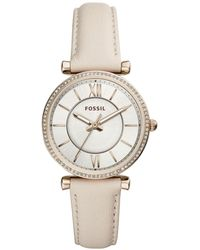 Fossil - Carlie Winter White Leather Strap Watch 35mm - Lyst