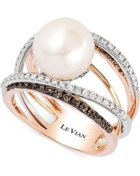 Le Vian - Fresh Water Pearl (10mm) And Diamond (3/4 Ct.t.w.) Ring In 14k White, Yellow And Rose Gold - Lyst