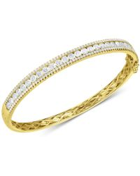 Arabella - Swarovski Zirconia Bangle Bracelet In 18k Gold-plated Sterling Silver - Lyst