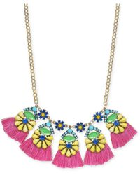 """INC International Concepts - I.n.c. Gold-tone Multicolor Bead Flower & Tassel Statement Necklace, 18"""" + 3"""" Extender, Created For Macy's - Lyst"""