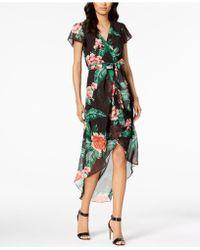 Julia Jordan - Floral Print High-low Wrap Midi Dress - Lyst