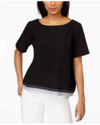 Eileen Fisher - Organic Cotton Contrast-hem Top - Lyst