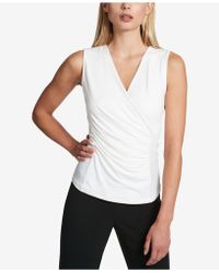 DKNY - Ruched Faux-wrap Top - Lyst